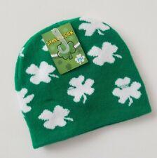 St Patricks Day Knit Hat Shamrocks Irish Pride
