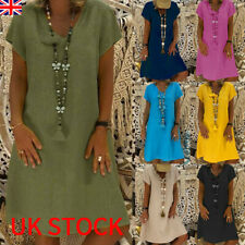 UK Womens Summer Cotton Linen Baggy T-Shirt Dress Tops Ladies Sundress Size 6-24