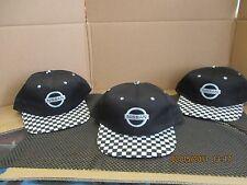 "NISSAN-LOT OF 3-BLACK CAPS/HATS-""NISSAN""+LOGO IN BLACK/GRAY-""CHECKERED""FLAG BILL"