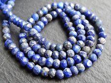 """HAND CUT LAPIS RONDELLES, 4mm, 13"""", 100 beads"""