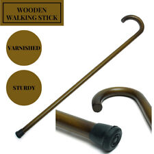 36.2'' Wooden Walking Stick Cane Pole Non-slip Crook Handle Sturdy Deluxe Tools