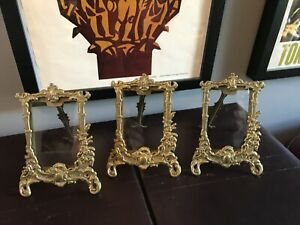 3 Vintage Small Brass or Metal Photo Frames - Stand Alone With Glass