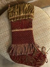 23� Burgundy Crushed Velvet Brocade Tapestry And Fringe &Trim Christmas Stocking