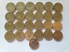 ONE Pound Coins  full set 25 coins + LAST round one coin pound in folder GIFT
