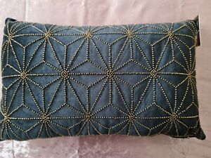 Brand new with tag black velvet cushion with gold beading 30 X 48cm