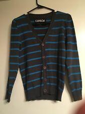 Carbon Grey And Teal Stripe Cardigan Sweater Boy Small