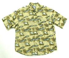 Columbia Mens L Button Up Casual 1 Pocket Fish Shirt EUC