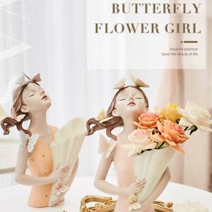 Creative Nordic Flower Vase Girl Sculpture Resin Statue Modern Crafts Girl G.bu