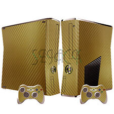 Gold 3D Skins Stickers for Xbox 360 Slim Console + 2 New Controllers Dustproof