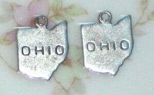 #1430A Vintage Ohio Charms Silver Tone State Charm Drops Dangles NOS