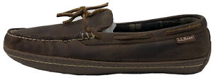 LL Bean Handsewn Men's Brown Leather Flannel Lined Moccasin Slippers Size 10 M