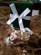 NIB New Baby Girl Bootie Silver & Pink Ornament Personalize