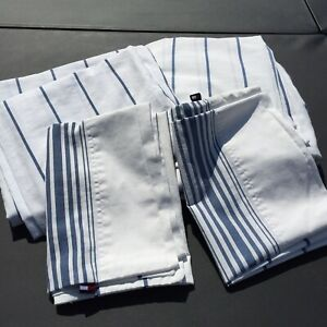 4 Pc Full Size Sheet Set White with Blue Stripes Tommy Hilfiger Cotton Blend