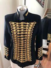 CHOIES Black Gold Button Millitary Style Blazer Size S Retail $250