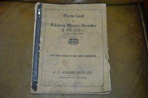 ADAMS Motor Grader Model 550 Parts List Serial Number 3000 and After