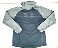 Under Armour Mens Cold Gear Reactor Hoodie Zip Pockets Black Gray Size Large