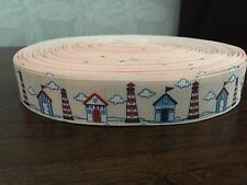 "1m Lighthouse Beach Hut Nautical Print 7/8"" Grosgrain Ribbon"