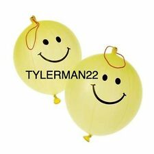 12 YELLOW SMILEY FACE PUNCHING BALLOONS BALLS FUN KIDS TOY PARTY FAVOR LOOT BAG