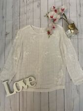 Reiss size 6 white long sleeve embroidered sequin party occasion top stunning