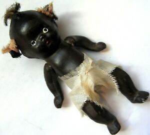 """Ca 1950s Black Baby Bisque Ceramic 4"""" Jointed Doll Pig Tails & Top Knot Japan"""