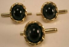 Shirt Studs set prom tux groom c14 -Oval Black & Gold Vintage Swank Formal