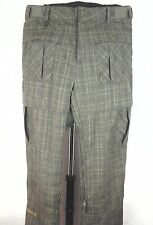 EUC $189 QUICKSILVER SKI PANTS Winter Snowboard Olive Green Plaid CARGO  L RARE