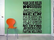 Man Cave PS4, gaming, farting, pizza, beer, funny, wall art vinyl decal sticker
