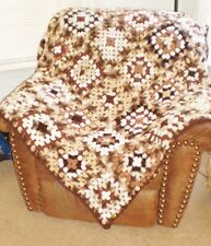 """NEW handmade large Granny Square AFGHAN 54x62"""" browns...brown border-washable"""