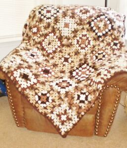 "NEW handmade large Granny Square AFGHAN 54x62"" browns...brown border-washable"