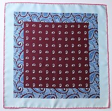 Burgundy & blue Paisley Silk pocket square Hand rolled 45cm Made in England