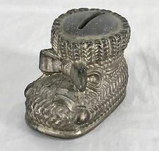 Vintage Leonard Silver Plate Baby Shoe Bootie Childs Bank Made In Italy Patina