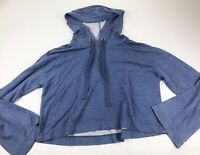Cloth & Stone Medium M Blue Cropped Hoodie Pullover Bell Sleeve Top