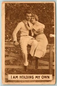Antique Postcard~ Romance~ I'm Holding My Own~ Couple On The Fence~ c785