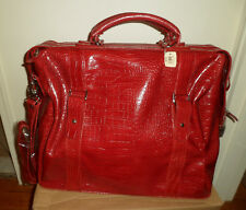 New Bath & Body Works Red Faux Croc Leather Carry On Travel Bag Suitcase Luggage