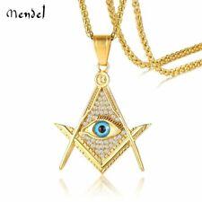 MENDEL Freemason Evil Eye Masonic Necklace Pendant Gold CZ Stainless Steel Chain
