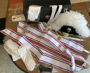 KNIGHTS of COLUMBUS Ostrich plume hat, sash, gloves, carry box and more