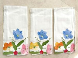 "6 Vintage White Cotton Dinner Napkins - Applique Embroidered Flowers 14"" x 21.5"""
