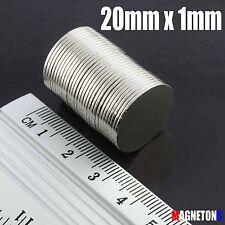 25 Neodymium Magnets 20mm x 1mm SCHEIBE STARK ( 25ER PACKUNG ) Neodimio Neodym