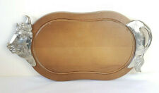 More details for vintage cow bull meat carving chopping board serving platter bmf-n west germany