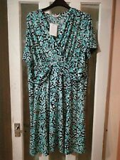 ESSENTIAL COLLECTION WRAP FRONT AQUA  PRINT DRESS, PLUS SIZE 30 SIMPLY BE