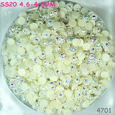 1000pcs SS20 4.8mm White AB Hot-fix Crystal Acryl Rhinestone  Beads flatback