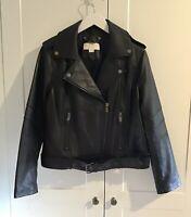 MICHAEL KORS  100% GENUINE Leather Biker Jacket Black SIZE L Women's (16-18) UK