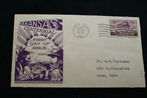 PATRIOTIC COVER 1936 1ST DAY ISSUE ARKANSAS CENTENNIAL (6750)