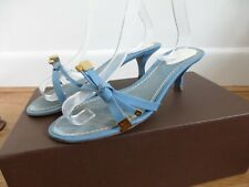 Louis Vuitton blue patent leather strappy kitten heel mules slides shoes 38.5 5.