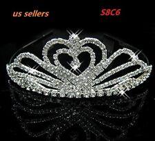 Rhinestone Crystal Wedding Crown Pageant Princess Tiara Bridal Headband S8C6