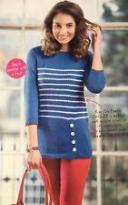 KNITTING PATTERN Ladies Striped Nautical Sweater Button Detail Jumper King Cole