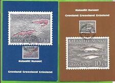 GROENLAND : N°121 , 10Kr CREVETTES + N°156 ,10Kr POISSONS sur CARTES