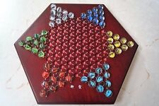 "Chinese Checkers, 12"" Fine Wooden Chessboard, Classic Marbles, family game set"