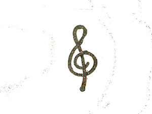 Musical Clef Note Gold with Silver Stone Brooch #UB623