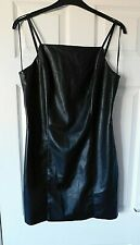 TOPSHOP Black Strappy Faux Leather Bodycon Party Dress Size UK 14 EUR 42 USA 10